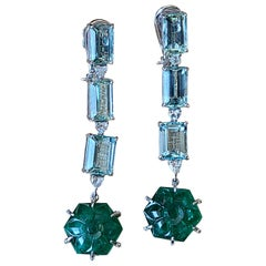 Natural Carved Emerald and Aquamarine Earrings Set in 18 Karat Gold with Diamond