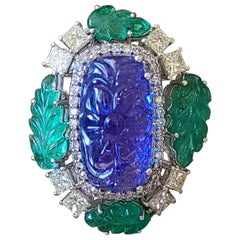 Natural Carved Tanzanite, Emerald and Diamond Ring Set in 18 Karat Gold