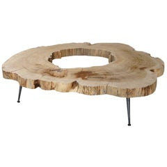 Natural Cedar Coffee Table with Metal Feet, Unique Piece, Made in Italy