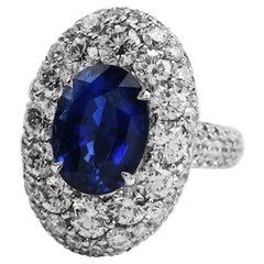 Natural Certified 13.00 Carat Ceylon Sapphire Diamond 18k Gold Cocktail Ring