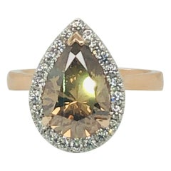 Natural Certified 3 Carat Pear Shaped Champagne Cognac Diamond Engagement Ring