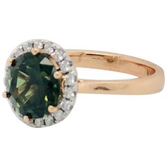 Natural Certified 3.59 Carat Round Green Sapphire and Diamond Engagement Ring