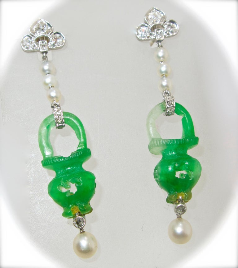 Edwardian Natural Certified Jade, Natural Pearl, Diamond and Platinum Earrings, 1915 For Sale