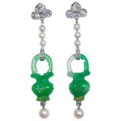 Natural Certified Jade, Natural Pearl, Diamond and Platinum Earrings, 1915