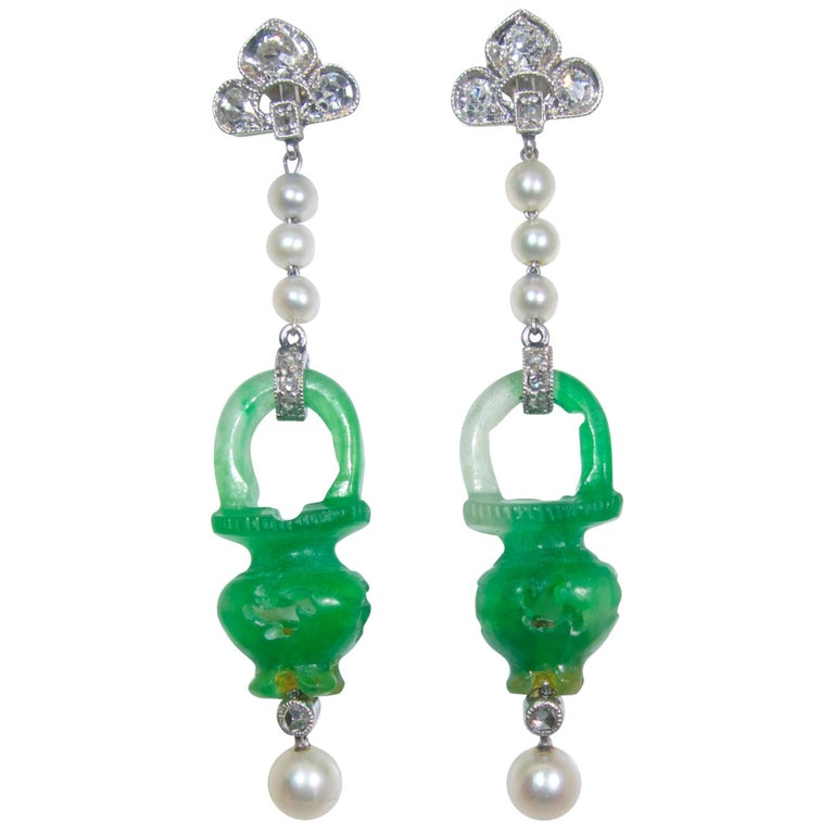 Natural Certified Jade, Natural Pearl, Diamond and Platinum Earrings, 1915 For Sale