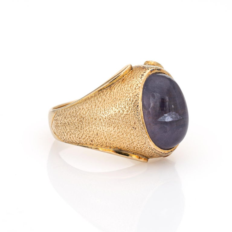 Modern Natural Ceylon 9 Carat No Heat Star Sapphire Ring 14 Karat Gold 7 Men's Jewelry For Sale