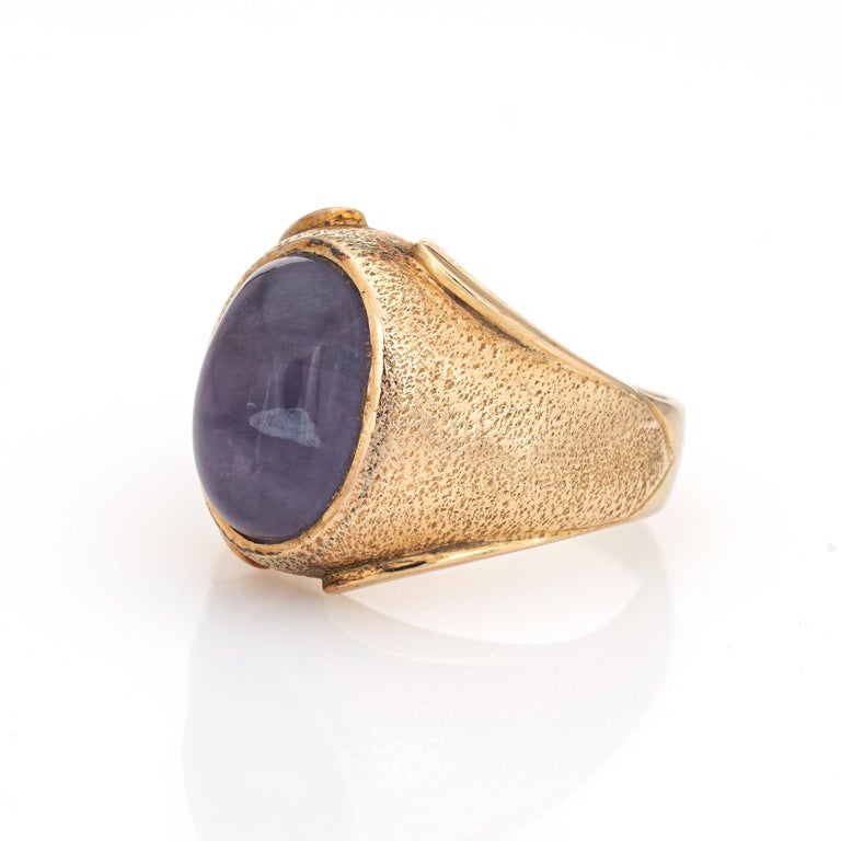 Cabochon Natural Ceylon 9 Carat No Heat Star Sapphire Ring 14 Karat Gold 7 Men's Jewelry For Sale