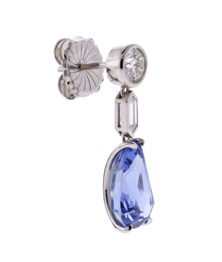Women's or Men's Natural Ceylon Sapphire and Diamond Drop Earrings For Sale
