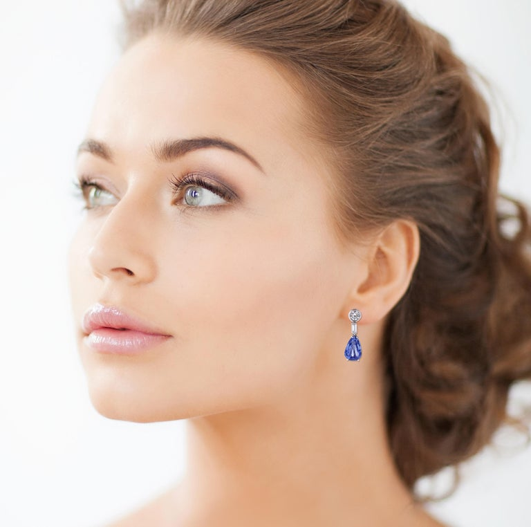 Natural Ceylon Sapphire and Diamond Drop Earrings For Sale 1
