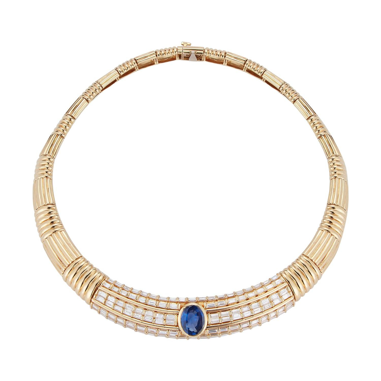 Natural Ceylon Sapphire and Diamond Gold Necklace