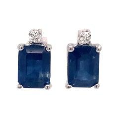 Natural Ceylon Sapphire Diamond Earrings 14 Karat Gold 2.13 Carat Certified