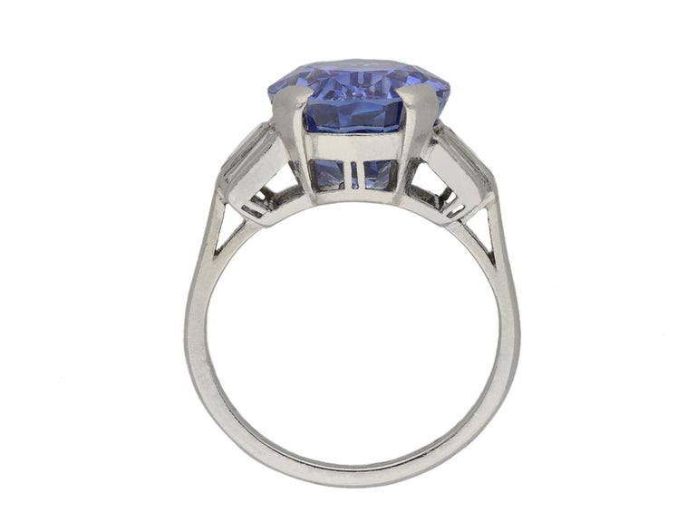 Old European Cut Natural Ceylon Sapphire and Diamond Ring, circa 1920 For Sale