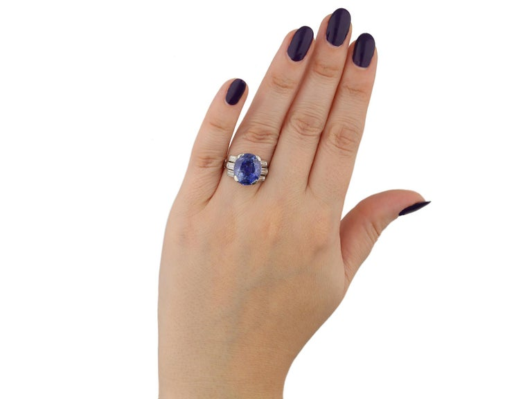 Women's or Men's Natural Ceylon Sapphire and Diamond Ring, circa 1920 For Sale