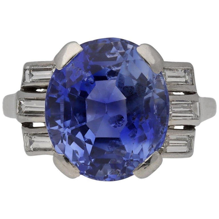 Natural Ceylon Sapphire and Diamond Ring, circa 1920 For Sale