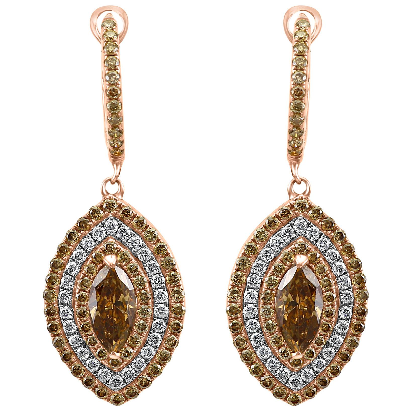 Natural Champagne Diamonds Triple Halo Two Color Gold Dangle Drop Earrings