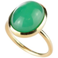 Natural Chrysophrase Central Cabochon 18 Karat Yellow Solitaire Cocktail Ring