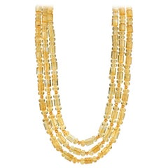 Natural Citrine and 18 Karat Yellow Gold Rondelle Beaded 3-Strand Necklace