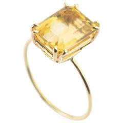 Natural Citrine Quartz Intini Jewels 18 Karat Yellow Gold Cocktail Handmade Ring
