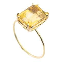 Natural Citrine Quartz Intini Jewels 9 Karat Yellow Gold Cocktail Handmade Ring