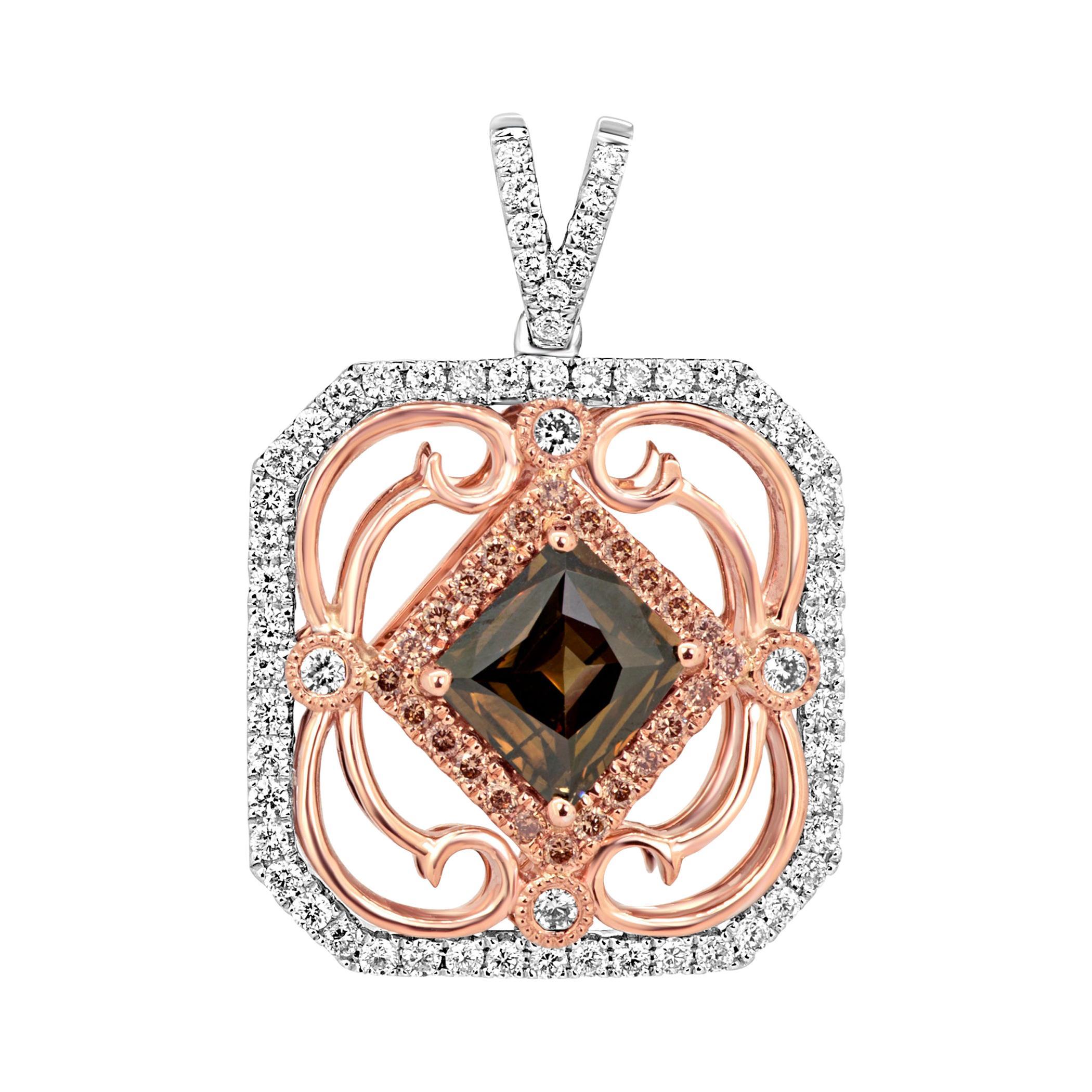 Natural Cognac Diamond Double Halo Two-Color Gold Pendant Chain Drop Necklace