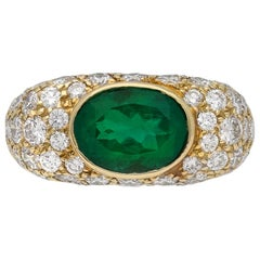 Natural Colombian Emerald and Diamond Cluster Ring by Oscar Heyman Brothers