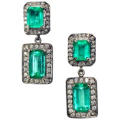Natural Colombian Emerald and Diamond Drop Earrings 18 Karat
