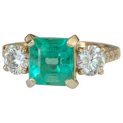 Natural Colombian Emerald and Diamond Engagement Ring Gold