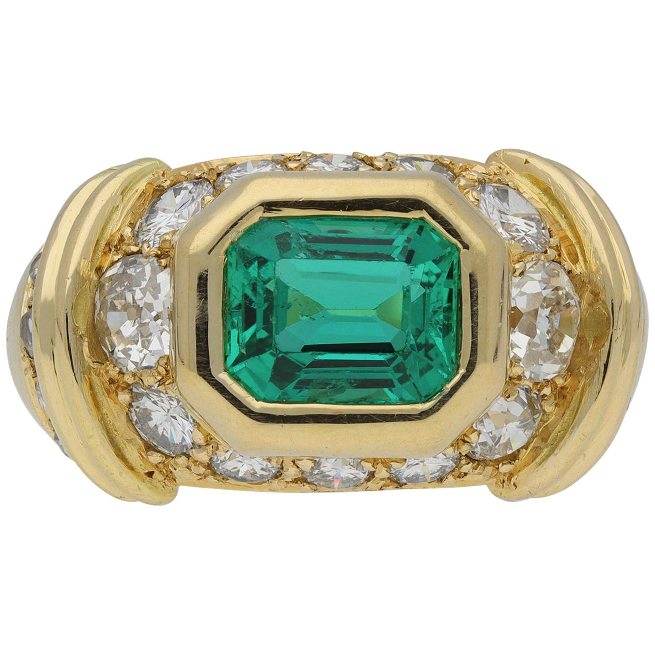 Natural Colombian Emerald and Diamond Ring, French, circa 1980