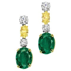 Natural Colombian Emerald and Fancy Color Diamond Earrings Gubelin Certified