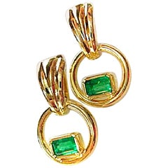 Natural Colombian Emerald Dangle Earrings 18 Karat Gold