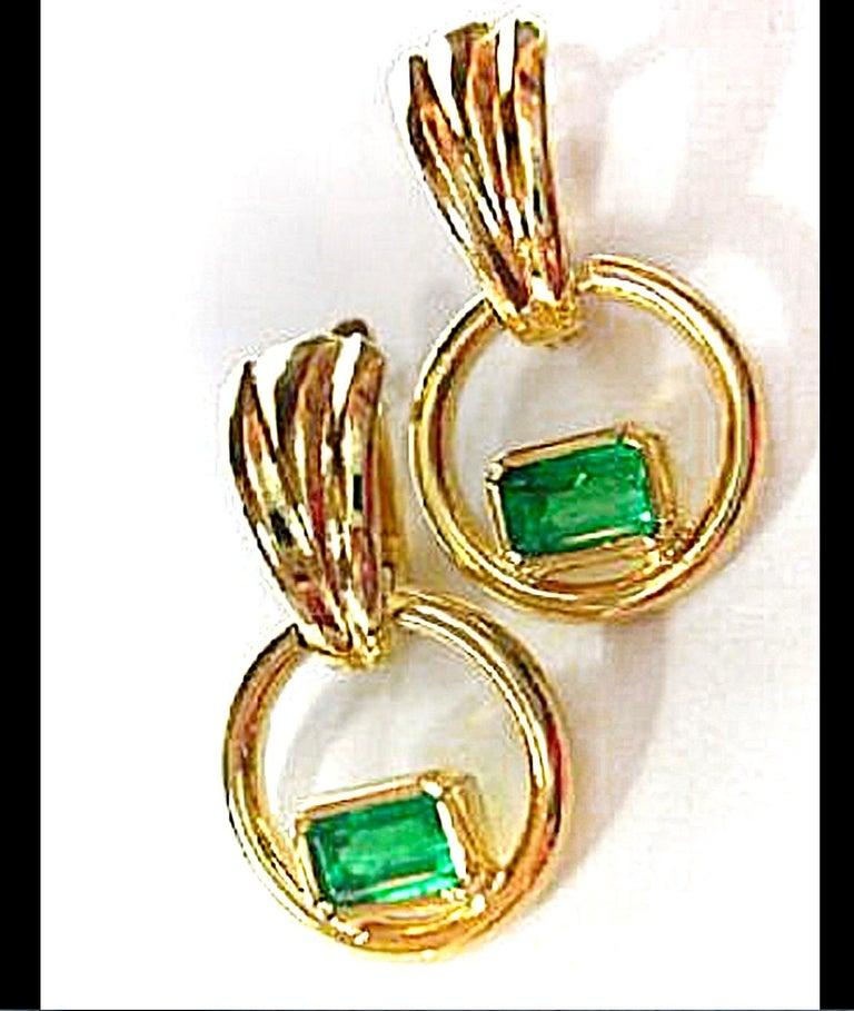 Emerald Cut Natural Colombian Emerald Dangle Earrings 18 Karat Gold For Sale