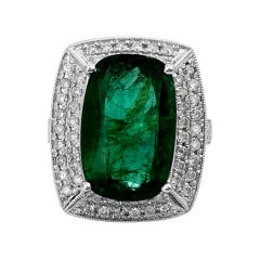 Natural Colombian Emerald Diamond Cocktail Ring