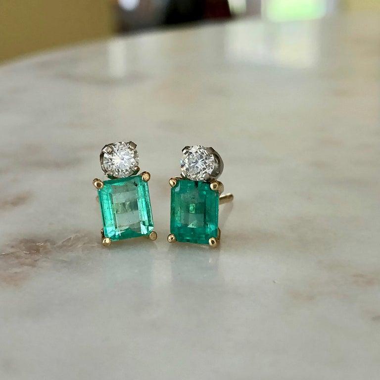 Natural Colombian Emerald Diamond Stud Earrings 18 Karat For Sale 4