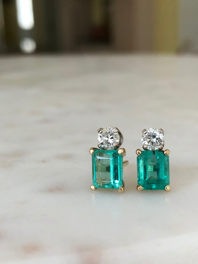 Natural Colombian Emerald Diamond Stud Earrings 18 Karat For Sale 5