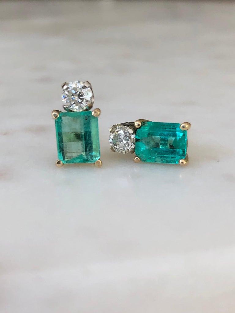 Edwardian Natural Colombian Emerald Diamond Stud Earrings 18 Karat For Sale