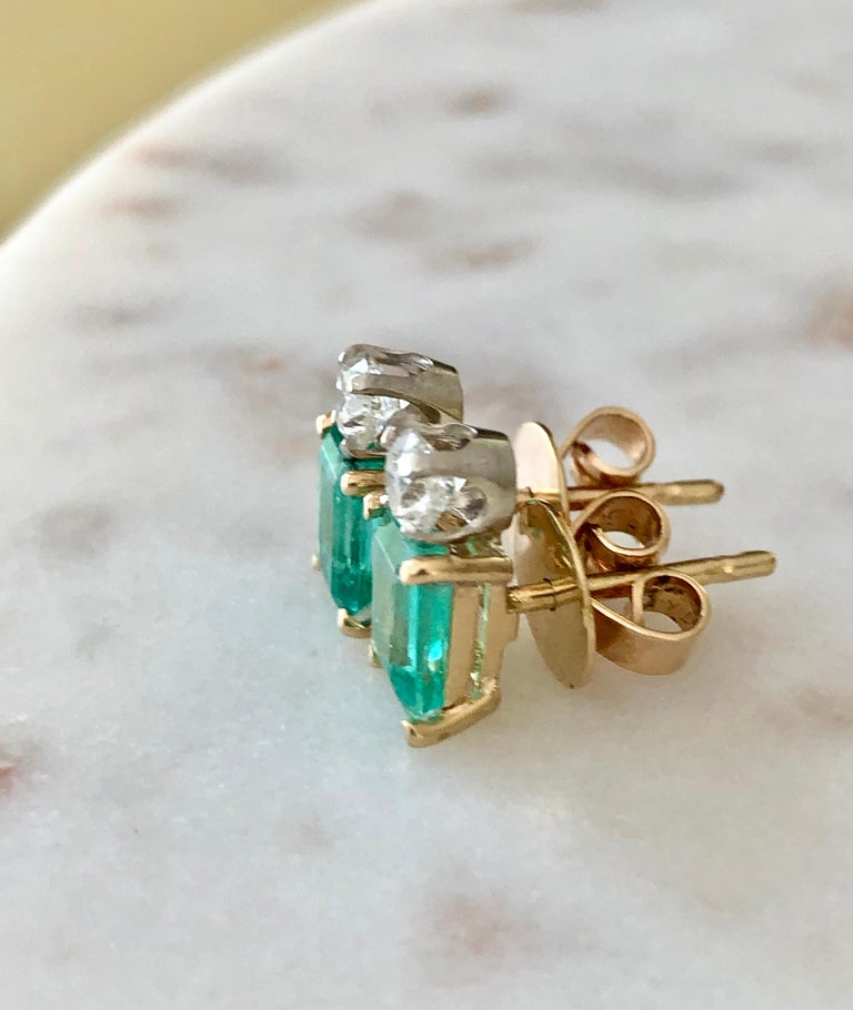 Emerald Cut Natural Colombian Emerald Diamond Stud Earrings 18 Karat For Sale