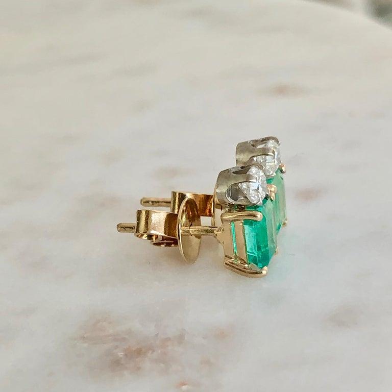 Natural Colombian Emerald Diamond Stud Earrings 18 Karat For Sale 2