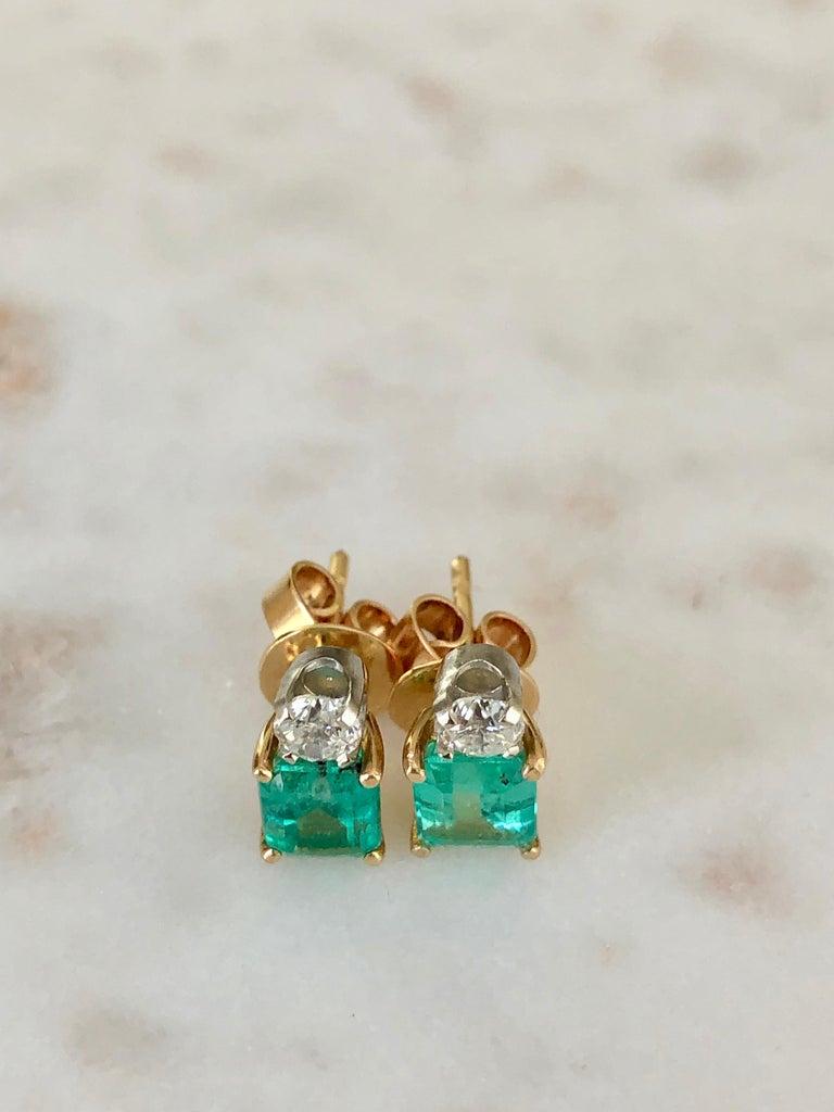 Natural Colombian Emerald Diamond Stud Earrings 18 Karat For Sale 3