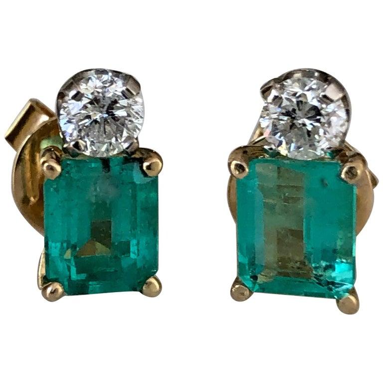 Natural Colombian Emerald Diamond Stud Earrings 18 Karat For Sale