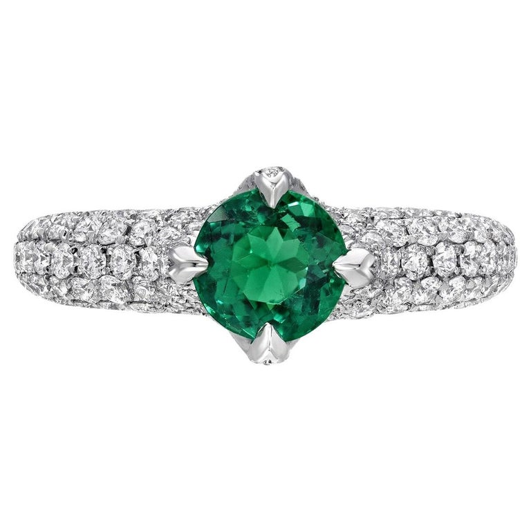 Contemporary No Oil Colombian Emerald Ring 0.79 Carat AGL Certified Untreated For Sale
