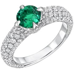 Natural Colombian No Oil Emerald Diamond Platinum Ring AGL Certified 0.79 Carat