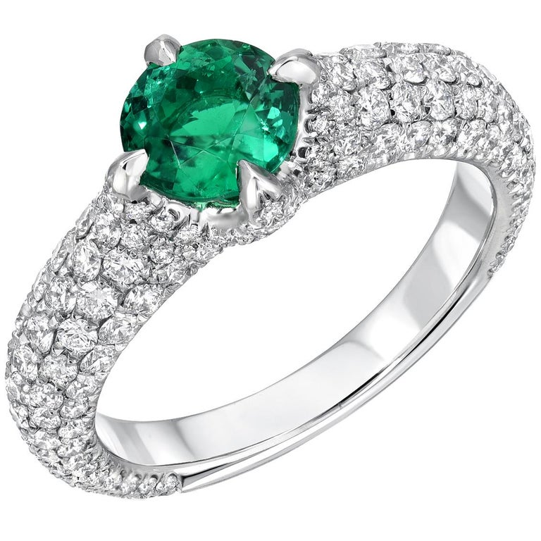 No Oil Colombian Emerald Ring 0.79 Carat AGL Certified Untreated For Sale