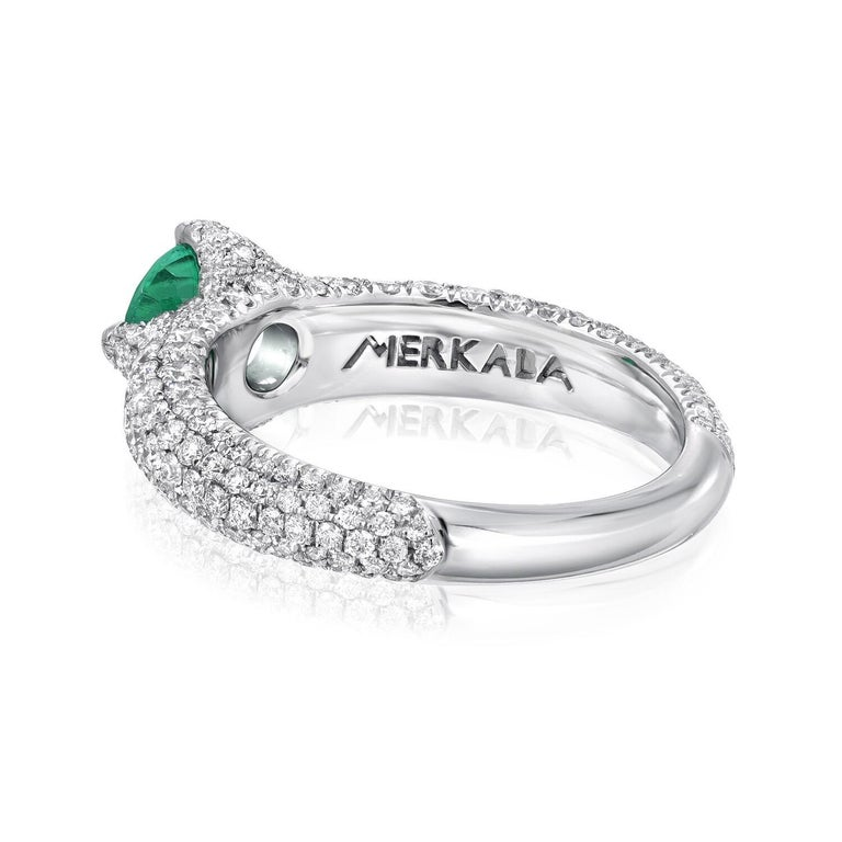 No Oil Colombian Emerald Ring 0.79 Carat AGL Certified Untreated In New Condition For Sale In Beverly Hills, CA