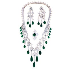 IMPORTANT Certified Natural Colombian Pear Shape Emerald and Diamond Set
