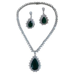 Natural Colombian Pear Shape Emerald and Diamond Set