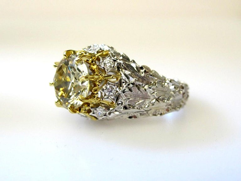 Natural Fancy Green 3.11 ct. Diamond GIA, 18k White, Yellow Gold Handmade Ring For Sale 7
