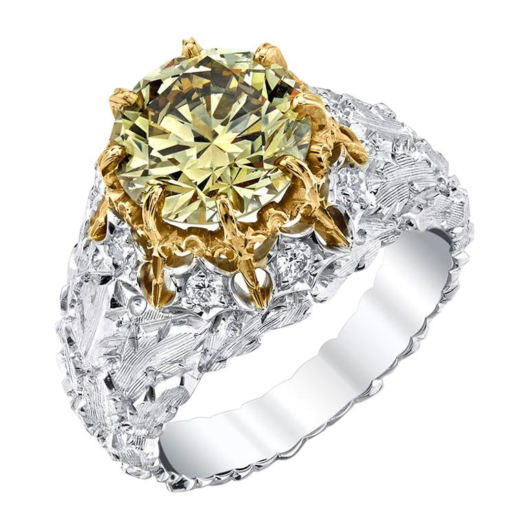 Natural Fancy Green 3.11 ct. Diamond GIA, 18k White, Yellow Gold Handmade Ring For Sale