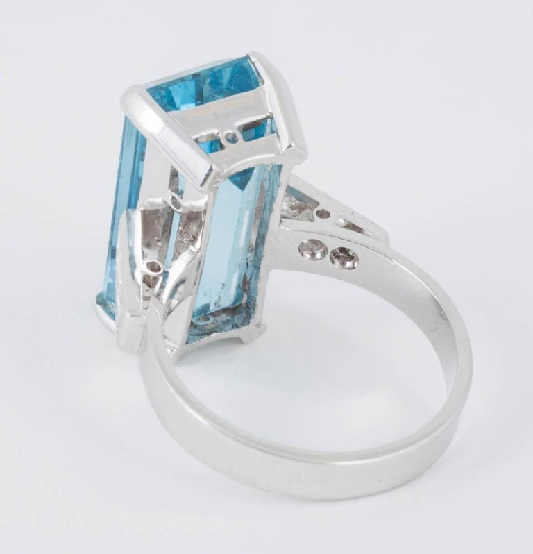Emerald Cut Natural Color Aquamarine and Diamond Mounted in 18 Carat Gold Ring For Sale