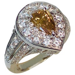 Natural Color Champagne Diamond  0.88 CT, Platinum Ring-