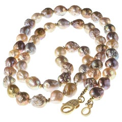 Natural Color Multi Tone Baroque Pearl Necklace
